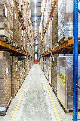 Packed pallets on shelves in warehouse,Lisse, Netherlands, Netherlands - p1100m2084252 by Mint Images