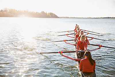 Rowing team in scull on sunny river - p1192m1016537f by Hero Images