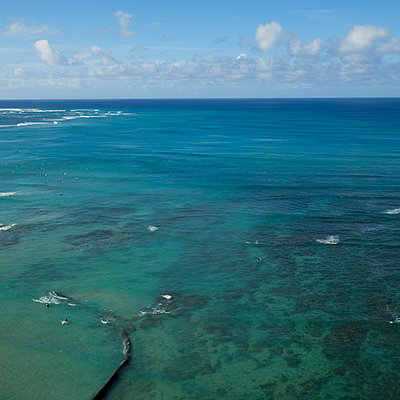 View from Waikiki Beach, Hawaii - p495m1034286 by Jeanene Scott