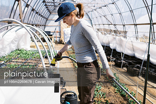 A young female farmer watering her seedlings in the greenhouse - p1166m2269678 by Cavan Images