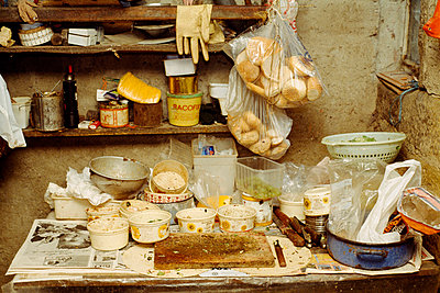 Kitchen in old barn - p388m701288 by Bill Davies