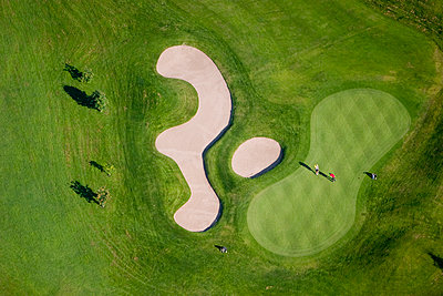Aerial view of a golf course - p575m1074816f by Roine Magnusson