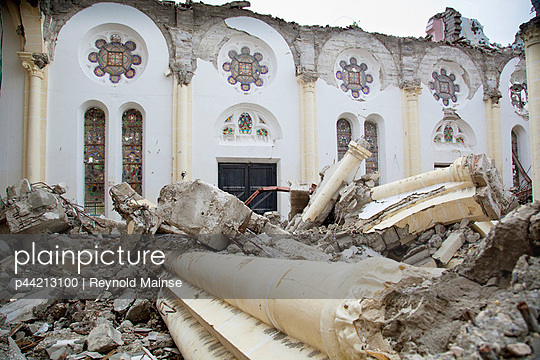 the ruins of the catholic cathedral of our lady after the haitian earthquake; port-au-prince, haiti