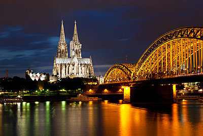 View of Cologne Cathedral and Hohenzollern Bridge with River Rhine - p30020760f by Fotofeeling