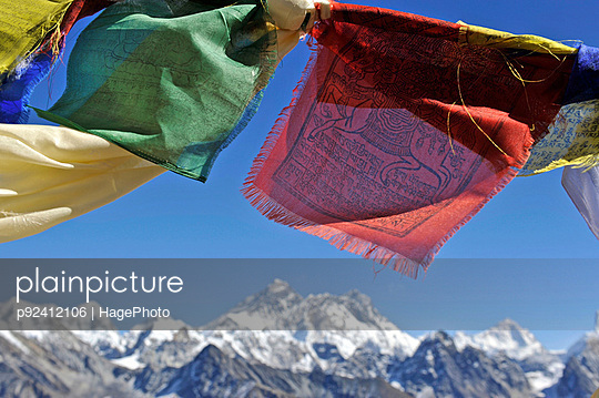 Tibetan prayer flags with views of the Everest massif from Renjo La, Nepal - p92412106 by HagePhoto
