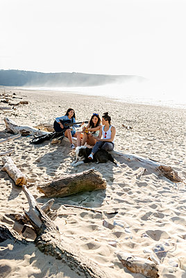 Three women with dog and guitar on the beach - p300m2114781 by Marco Govel