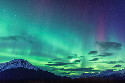 Northern Lights above the Chugach Mountains South of Girdwood, Southcentral Alaska, USA. - p442m1086825 by Kevin Smith