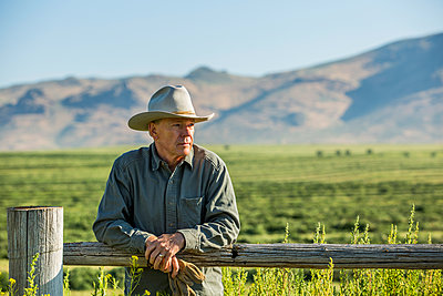 Caucasian farmer holding gloves leaning on wooden fence - p555m1303712 by Steve Smith