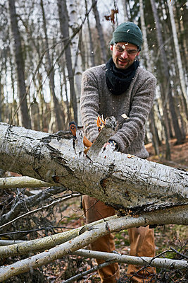 Tree felling with axe - p1573m2175263 by Christian Bendel