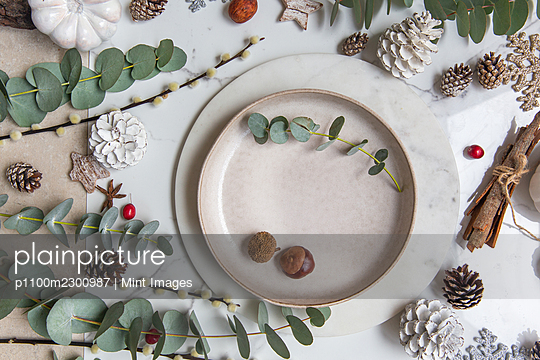 Christmas decorations on a white background, green leaves and red berries - p1100m2300987 by Mint Images