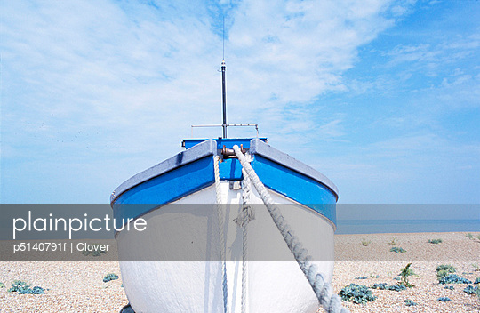 Boat on shingle beach, Dungeness, Kent, UK - p5140791f by Clover photography