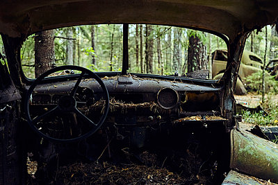 Sweden, Car cemetery in the forest - p1573m2244340 by Christian Bendel