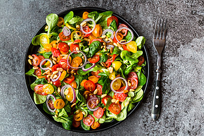 Plate of tomato salad - p300m1228171 by Sandra Roesch
