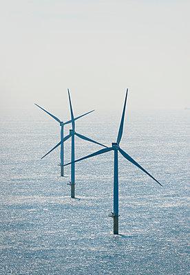 Wind turbines at Dutch offshore wind farm, IJmuiden, Netherlands - p429m1206956 by Mischa Keijser