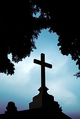 Cross with Foliage Canopy Silhouetted - p1248m2134706 by miguel sobreira