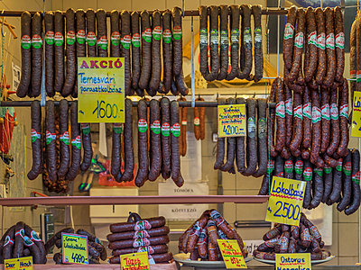 Sausages for sale in market - p555m1312203 by ac productions