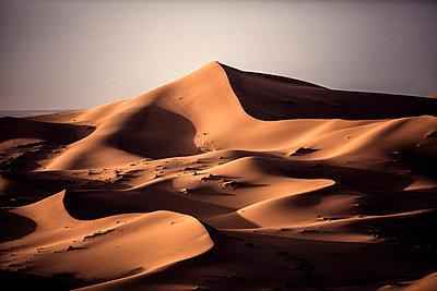 Desert landscape with sand dunes under a hazy sky. - p1100m1482279 by Mint Images