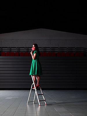 Woman standing on ladder - p1105m2086553 by Virginie Plauchut