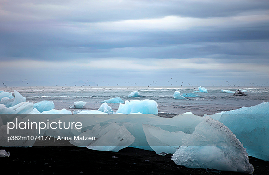 Ice floes on the beach - p382m1074177 by Anna Matzen