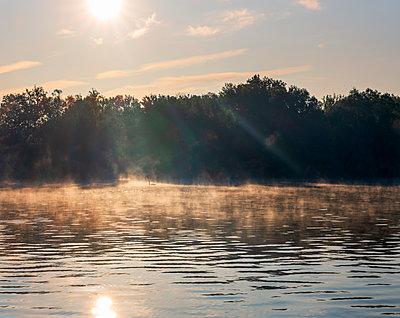 River Saone at foggy sunrise - p300m2266324 by Hans Mitterer