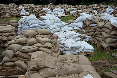 Sandsäcke bei Elbflut - p347m866445 von Georg Kühn