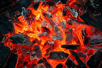 Burning charcoal  - p1418m2115777 by Jan Håkan Dahlström