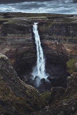 Waterfall Haifoss in the Highlands of Iceland - p1634m2210344 by Dani Guindo