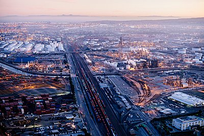 Aerial view of Los Angeles, California, USA - p924m1084970f by Pete Saloutos