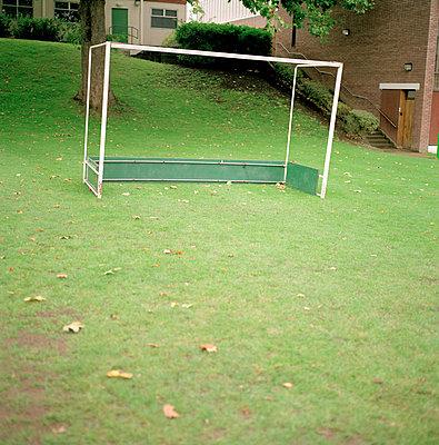 football goal on grass - p3880101 by Bill Davies