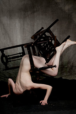 Nude Figure Tangled in Chairs - p1072m899515 by Elisa Lazo de Valdez