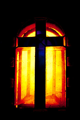 cross on stained glass - p4450938 by Marie Docher