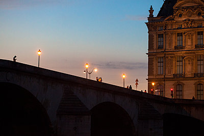 Bridge in Paris at night - p873m1460965 by Philip Provily