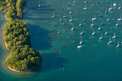Germany, Lake Constance, Aerial view, Immenstaad, Bird islands at Dornier Mole - p300m1113507f by Holger Spiering