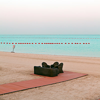 Seating area on the beach, Qatar - p1542m2142367 by Roger Grasas