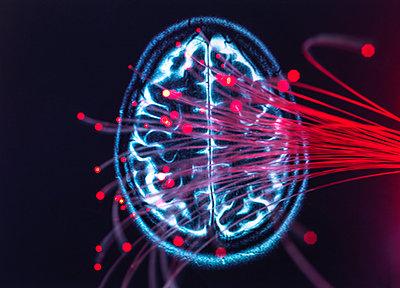 Neuroscience, Fibre optics carrying data around the brain - p300m2113755 von Andrew Brookes