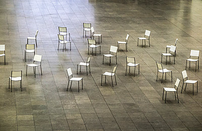 Many chairs in disorder - p360m1219040 by Ralf Brocke