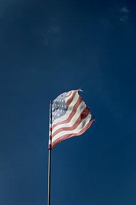 Amerikanische Flagge vor blauem Himmel - p1072m2157570 von Neville Mountford-Hoare