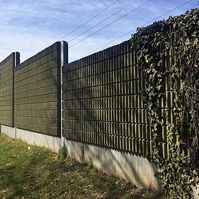 Schallschutzmauer mit Efeu bewachsen - p1401m2260485 von Jens Goldbeck