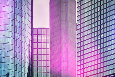 High rises, glass facades, light effects - p851m2186159 by Lohfink