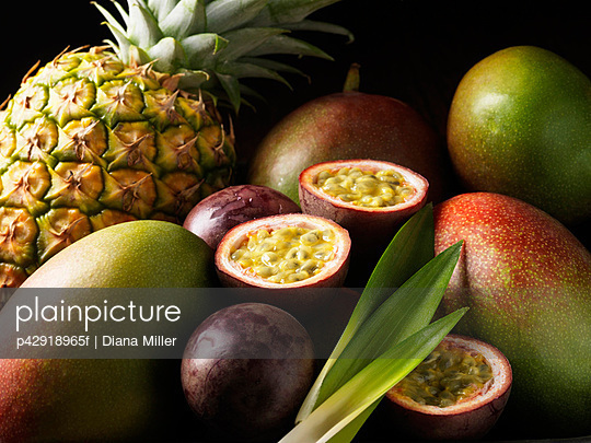 Tropical fruits nestled together