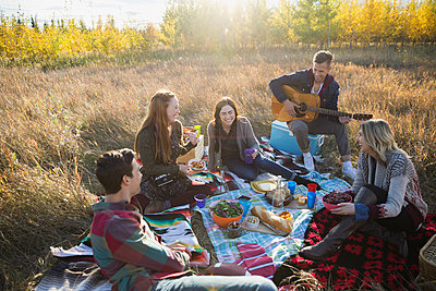 Friends hanging out enjoying picnic in sunny field - p1192m1103540f by Hero Images