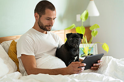 Young man with Pug dog using digital tablet while sitting on bed at home - p300m2267387 by Steve Brookland