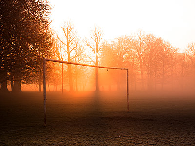 Bare trees and goalpost in misty park at sunrise - p429m1418139 by David Cleveland