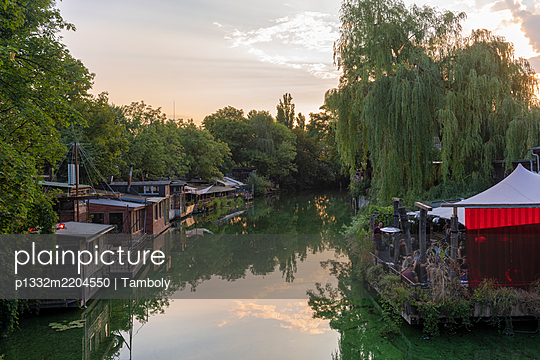 View of bars on the canal bank, Berlin - p1332m2204550 by Tamboly