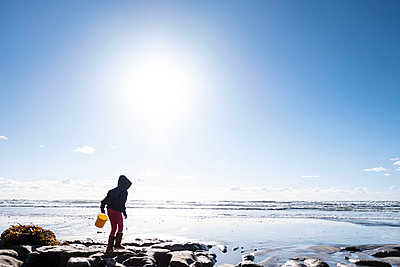 Young child with yellow bucket looking for shells at the beach - p1166m2087991 by Cavan Images