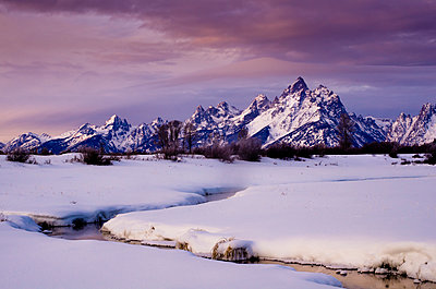 Mountains and river at sunrise.  Grand Tetons, Jackson Hole, Wyoming - p1424m1501633 by Dan Ballard
