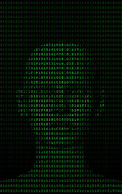 Binary code and anthropomorphic head - p1028m2007755 von Jean Marmeisse