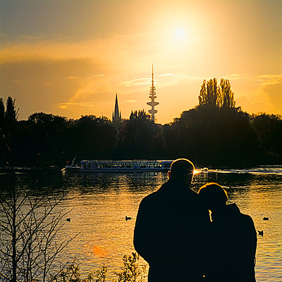 Partnership, Outer Alster Lake at sunset - p1501m2071089 by Alexander Sommer