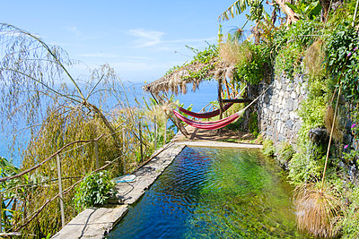 Portugal, Madeira, Hammocks and pool - p1600m2175629 by Ole Spata
