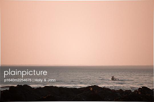 Rowing boat at dawn - p1640m2254675 by Holly & John
